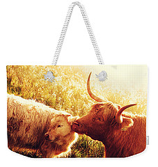 Fenella With Her Daughter. Highland Cows. Scotland Weekender Tote Bag