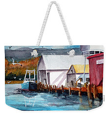 Fishing Boat And Dock Watercolor Weekender Tote Bag