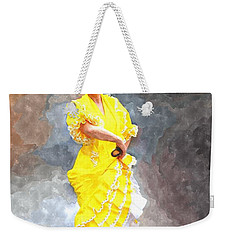 Weekender Tote Bag featuring the photograph Flamenco Dancer In Yellow by Davandra Cribbie