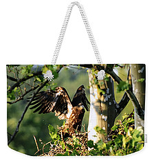 Weekender Tote Bag featuring the photograph Fledgling Testing The Wind by Randall Branham