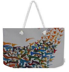 Weekender Tote Bag featuring the painting Fleet Of Birds by Sonali Gangane