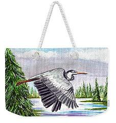 Weekender Tote Bag featuring the painting Flight Of Fantasy by Clara Sue Beym