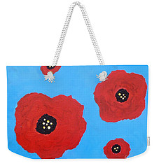Weekender Tote Bag featuring the painting Floating Flowers by Alys Caviness-Gober