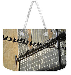 Weekender Tote Bag featuring the photograph Florentine Pigeons by Laurel Best