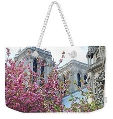 Weekender Tote Bag featuring the photograph Flowering Notre Dame by Jennifer Ancker