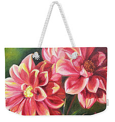 Weekender Tote Bag featuring the painting Flowers For Mom I by Lori Brackett