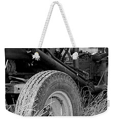 Weekender Tote Bag featuring the photograph Ford Tractor Details In Black And White by Jennifer Ancker