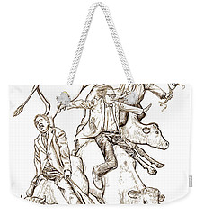 Weekender Tote Bag featuring the digital art Four Mad Cowboys Of The Apocalypse by Russell Kightley