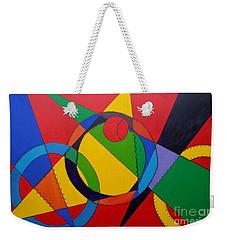 Weekender Tote Bag featuring the painting Frankenball by Julie Brugh Riffey