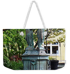 Weekender Tote Bag featuring the photograph Garden Statuary In The French Quarter by Alys Caviness-Gober