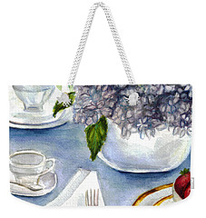 Weekender Tote Bag featuring the painting Garden Tea Party by Clara Sue Beym