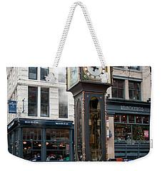 Weekender Tote Bag featuring the digital art Gastown Steam Clock by Carol Ailles
