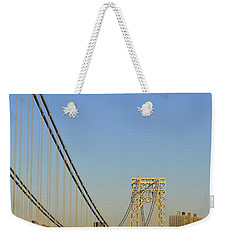 Weekender Tote Bag featuring the photograph George Washington Bridge And Boat by Zawhaus Photography