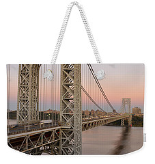 Weekender Tote Bag featuring the photograph George Washington Bridge At Sunset by Zawhaus Photography