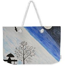 Weekender Tote Bag featuring the painting Girl With A Umbrella by Sonali Gangane