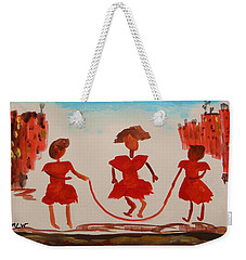 Weekender Tote Bag featuring the painting Girls In Red Dresses Jump Rope by Mary Carol Williams