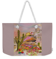 Weekender Tote Bag featuring the painting Gold-lined Rocks by Judith Rhue