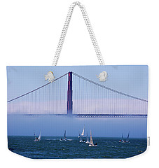 Weekender Tote Bag featuring the photograph Golden Gate Windsurfers by Don Schwartz