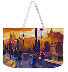 Golden Prague Charles Bridge Sunset Weekender Tote Bag