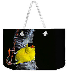 Weekender Tote Bag featuring the photograph Goldfinch High Wire Act by Randall Branham