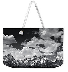 Grand Tetons Panorama In Monochrome Weekender Tote Bag