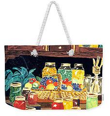 Weekender Tote Bag featuring the painting Granny's Cupboard by Julie Brugh Riffey