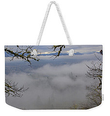 Weekender Tote Bag featuring the photograph Grants Pass In The Fog by Mick Anderson