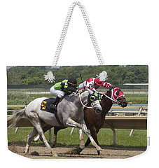 Weekender Tote Bag featuring the photograph Gray Vs Bay by Alice Gipson