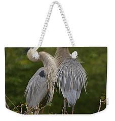 Great Blue Heron Couple Weekender Tote Bag by Myrna Bradshaw