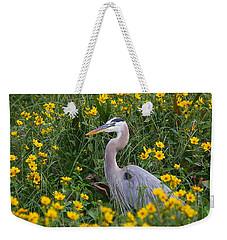 Great Blue Heron In The Flowers Weekender Tote Bag by Myrna Bradshaw