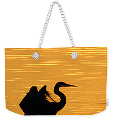 Weekender Tote Bag featuring the photograph Great Blue Heron Landing In Golden Light by Randall Branham