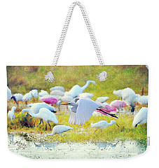 Weekender Tote Bag featuring the photograph Great Egret Flying by Dan Friend