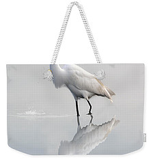Weekender Tote Bag featuring the photograph Great Egret With Lunch by Dan Friend