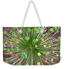 Weekender Tote Bag featuring the photograph Green Flower by Stephanie Moore