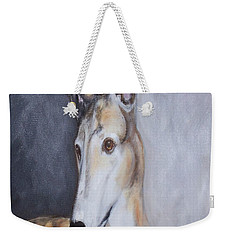 Weekender Tote Bag featuring the painting Greyhound In Thought by George Pedro