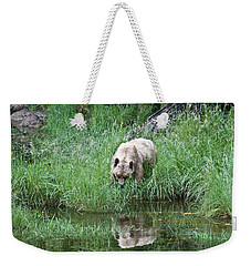 Grizzly Bear And Reflection On Prince Rupert Island Canada 2209 Weekender Tote Bag by Michael Bessler