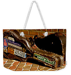 Weekender Tote Bag featuring the photograph Guitar Case Messages by Lainie Wrightson