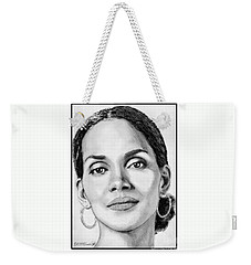Weekender Tote Bag featuring the drawing Halle Berry In 2008 by J McCombie