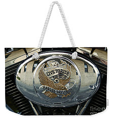 Harley Davidson Bike - Chrome Parts 44c Weekender Tote Bag by Aimelle