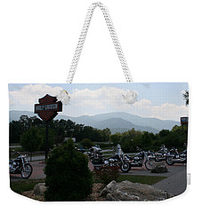 Weekender Tote Bag featuring the photograph Harleys On The Mountain by Karen Harrison