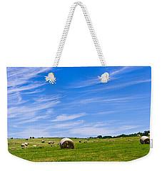 Hay Bales Under Brilliant Blue Sky Weekender Tote Bag