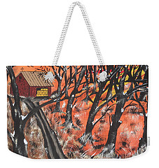 Weekender Tote Bag featuring the painting Hazy Shade Of Winter by Jeffrey Koss