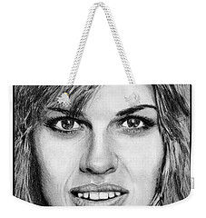 Weekender Tote Bag featuring the drawing Hilary Swank In 2007 by J McCombie