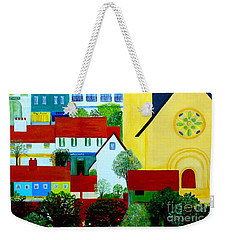 Weekender Tote Bag featuring the painting Hillside Village by Barbara Moignard