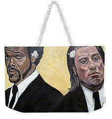 Weekender Tote Bag featuring the painting Hit Men by Tom Roderick