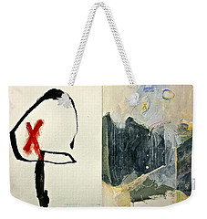 Weekender Tote Bag featuring the painting Hits And Mrs Or Kami Hito E 1  by Cliff Spohn