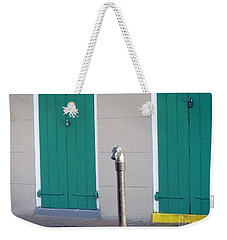 Weekender Tote Bag featuring the photograph Horse Head Post With Green Doors by Alys Caviness-Gober