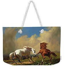 Horses Balking At Storm Weekender Tote Bag