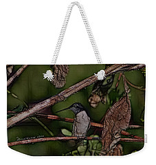 Weekender Tote Bag featuring the photograph Hummingbird Waiting For Dinner by EricaMaxine  Price