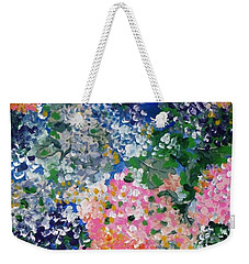 Weekender Tote Bag featuring the painting Hydrangeas I by Alys Caviness-Gober